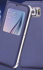 fodral Till Samsung Galaxy Samsung Galaxy S7 Edge med fönster Automatiskt sömn- / uppvakningsläge Lucka Fodral Ensfärgat PU läder för S7