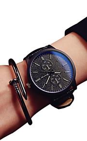 Casal Quartzo Relógio de Moda Relógio Casual PU Banda Preta