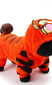 고양이 강아지 코스츔 점프 수트 강아지 의류 카툰 오렌지 플러시지 코스츔 애완 동물 남성용 여성용 귀여운 휴일 코스프레