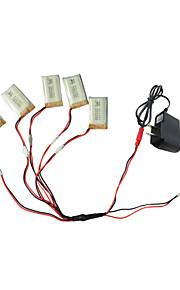 5pcs bateria 650mAh 3.7V com 1-5 usb partes adaptador de cabo do carregador para syma x5C x5 x5sc rc Quadrotor