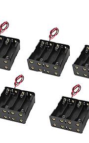محفظة 5pcs 5 8 مشبك مع بطارية 9V البطارية مربع مربع العودة إلى الوراء 8AA 12V ثمانية أأ حالة البطارية