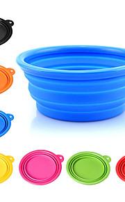 L 강아지 그릇&물병 애완동물 그릇 & 수유 휴대용 폴더 옐로우 레드 그린 블루 핑크
