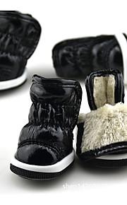 Hund Schuhe und Stiefel warm halten Schneestiefel Solide Schwarz Purpur Fuchsia Rot Blau Für Haustiere
