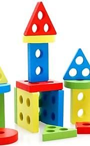 Brinquedo Educativo Quebra-Cabeças de Madeira Forma Cilindrica Triângulo Retângular Unisexo