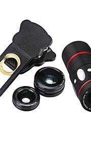 10x multifuncional 4 in1 lente de câmera externa grande angular macro fisheye telefoto para celular (preto)