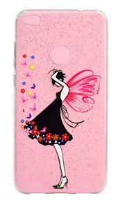 Etui Til Huawei Gjennomsiktig Mønster Bakdeksel Sexy dame Glimtende Glitter Myk TPU til Huawei P10 Lite Huawei P9 Lite Huawei P8 Lite