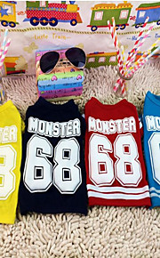 Dog Clothes Cotton Spring/Fall Winter Sports Letter & Number Black Red Blue For Pets