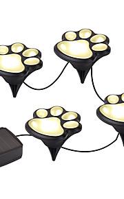 ywxlight® paw print solar utendørs hage lys sett pote print solar hage lys varm hvit / hvit