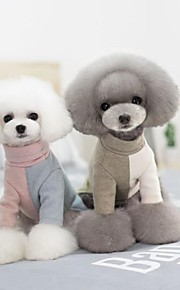 Dog Clothes Cotton Spring/Fall Winter Casual/Daily Keep Warm Trendy Halloween Christmas Color Block Green Blue Pink For Pets