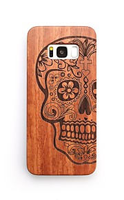 For Case Cover Shockproof Embossed Back Cover Case Skull Hard Wooden for Samsung Galaxy S8 Plus S8