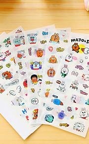 6 stk / sett tegneserie kanin dagbok klistremerke klistremerke klistremerke klistremerke
