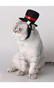 חתול כלב כובעים ובנדנות בגדים לכלבים בד פלסטיק לכל העונות מסוגנן מוצק שחור תחפושות עבור חיות מחמד