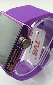 Homens Mulheres Relógio de Pulso Único Criativo relógio Chinês Digital Relógio Casual Silicone Banda Luxo Brilhante Roxa