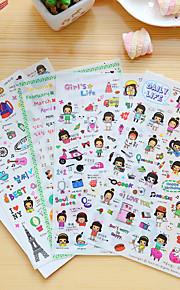 4 stk / sett tegneserie jente dagbok klistremerke klistremerke klistremerke klistremerke