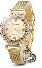 Dames Kwarts Pavé horloge Chinees Vrijetijdshorloge Roestvrij staal Band Glitter Heart Shape Informeel Modieus Goud