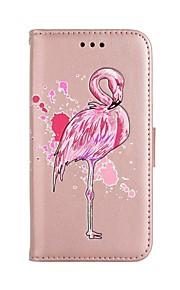 fodral Till Samsung Galaxy Note 8 Plånbok Korthållare med stativ Lucka Mönster Heltäckande Flamingo Hårt Konstläder för Note 8