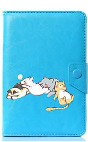 caja universal de la cubierta del soporte del cuero de la PU del gato de la historieta para 7 pulgadas 8 pulgadas 9 pulgadas tableta de la