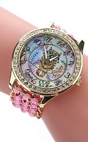 Dame Afslappet Ur Modeur Armbåndsur Kinesisk Quartz Imiteret Diamant Stof Bånd Afslappet Bohemisk Sort Hvid Blåt Rød Brun Pink Fuchsia