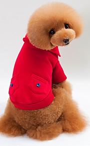 Kot Pies T-shirt Bluzy z kapturem Bluzy Ubrania dla psów Elegancki Zatrzymujący ciepło Stały Gray Czerwony Niebieski Kostium Dla zwierząt