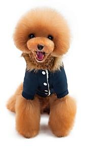 Kot Pies Płaszcze Bluzy z kapturem Kombinezon Ubrania dla psów Codzienne Zatrzymujący ciepło Sylwester W stylu brytyjskim Dark Blue