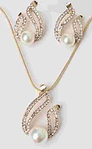 Dame Stangøreringe Halskædevedhæng Imiteret Perle Rhinsten Klassisk Mode Daglig Imiteret Perle Simuleret diamant Legering 1 Halskæde