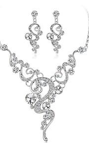 Dame Smykke Sæt Krystal Rhinsten Mode Bryllup Guldbelagt Geometrisk form 1 Halskæde Øreringe