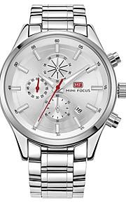 Homens Relógio de Moda Japanês Quartzo Relógio Casual Lega Banda Casual Prata