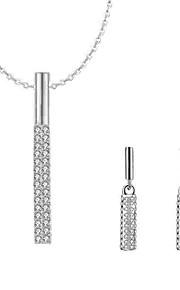 Dame Dråbeøreringe Halskæde Rhinsten Simple Daglig Simuleret diamant Legering Geometrisk form 1 Halskæde Øreringe