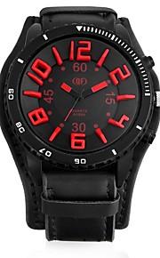 Homens Quartzo Relógio Militar Chinês Relógio Casual Couro Banda Legal Preta