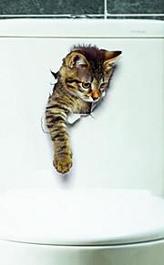 Zwierzęta Naklejki Naklejki ścienne 3D Naklejki toaleta, Winyl Dekoracja domowa Naklejka Toaleta