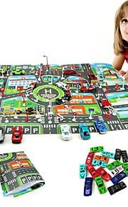 10Pcs Cars &1Pcs Map 83*58CM City PARKING LOT Roadmap Lekebiler Leketøy Bil Kjøretøy Kart Metall-legering Deler