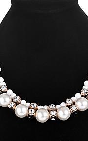 Dame Kvadratisk Zirconium Imiteret Perle Imiteret Perle Zirkonium Erklæring Halskæder - Mode Cirkelformet Hvid 50cm Halskæder Til Fest