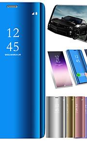 ケース 用途 Samsung Galaxy A8 2018 A8 Plus 2018 耐衝撃 ミラー フリップ オートスリープ/ウェイクアップ フルボディーケース ソリッド ハード PUレザー のために A5(2018) A7(2018) A3(2017) A5(2017)