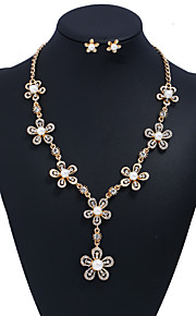 Women's Cubic Zirconia Imitation Pearl Imitation Pearl Zircon Oversized Jewelry Set 1 Necklace Earrings - Oversized Fashion Flower