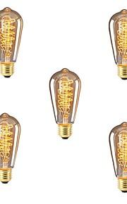 5pcs 40W E26/E27 ST64 Varm hvit 2200-2700k K Kontor / Bedrift Mulighet for demping Dekorativ Glødende Vintage Edison lyspære 220V-240V