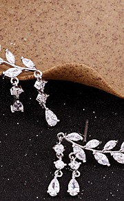 Women's Cubic Zirconia Tassel Stud Earrings Ear Climbers - Leaf Simple, Tassel Gold / Silver For Party Gift Daily
