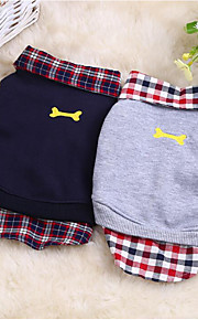 Dogs / Cats Sweatshirt Dog Clothes Plaid / Check / Bone Gray Cotton Costume For Pets Male / Female Casual / Daily / Fashion