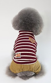 Dogs Coat Dog Clothes Stripe / Character / British Red / Green Cotton Costume For Pets Unisex Sweet Style / Casual / Daily