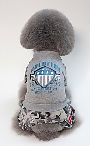 Dogs Coat Dog Clothes British / Slogan Black / Gray Acrylic Fibers Costume For Pets Unisex Casual / Daily / Warm Ups