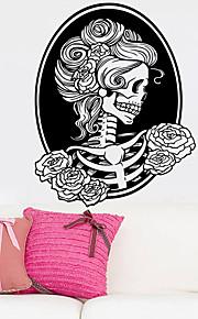 το κορίτσι το θάνατο κρανίο αυτοκόλλητο τοίχο διακοσμητικά αποκριές ταπετσαρία τέχνης