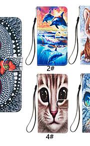 Кейс для Назначение SSamsung Galaxy Note 9 Кошелек / Бумажник для карт / со стендом Чехол Кот / Животное Твердый Кожа PU для Note 9