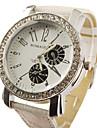 Montre à Quartz pour Femme, Grand Cadran, Bracelet en PU - Blanc