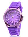 보라색 실리콘 밴드 세련된 석영 손목 시계