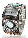 Amazing Women's Silver Bracelet Watch with Graceful Multi Color Diamond Decoration