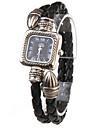 Women\'s Quartz Analog Black PU Rope Band Bracelet Watch Cool Watches Unique Watches