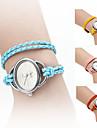 femmes élégantes de style corde tressée en cuir PU bande analogique bracelet montre à quartz (couleurs assorties)