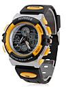 Аналого-цифровые мультиходовые наручные часы унисекс с ремешком из резины (черные)