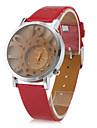 Women's Hollow Numbers Style PU Analog Quartz Wrist Watch (Red)