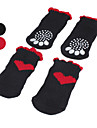 Dog Socks Casual/Daily Keep Warm Hearts Black Red For Pets