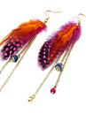 boucles d'oreilles en plumes gland